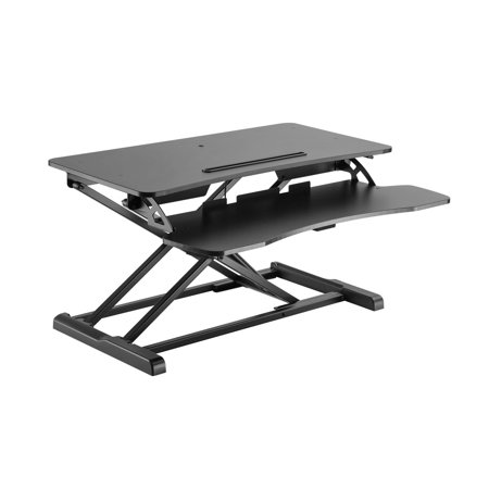 Monoprice Height Adjustable Sit Stand Riser Workstation Desk Converter - Black | Optimized For Cubicles , 15.7 x 31.5 Inch Area, Adjustable from 4.2 To 19.7 Inches - Workstream Collection