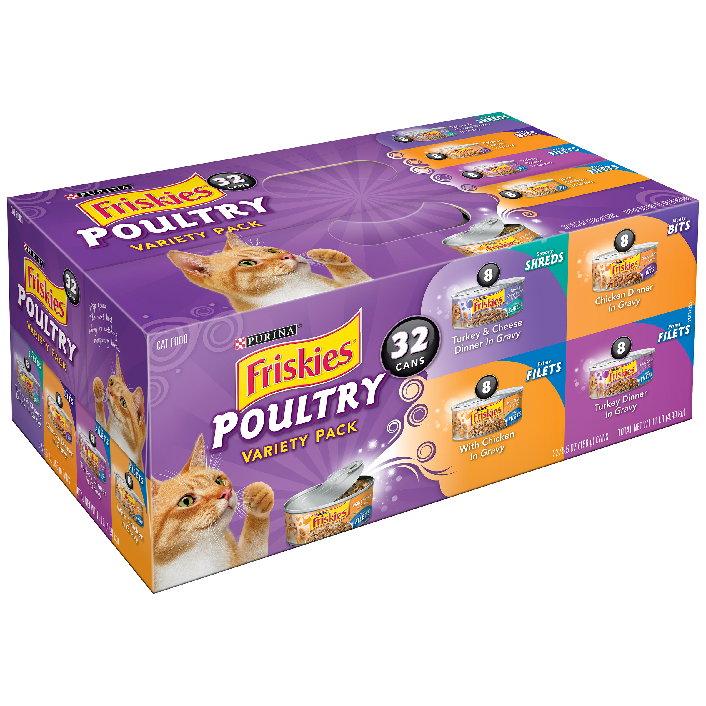 Purina Friskies Poultry Variety Pack Cat Food 32-5.5 oz. Cans