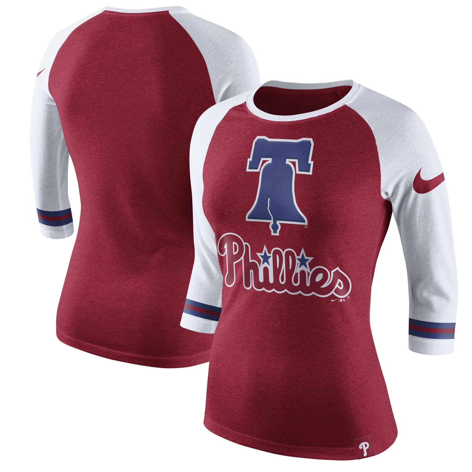 Women's Nike Heathered Red Philadelphia Phillies Tri-Blend 3/4-Sleeve Raglan T-Shirt