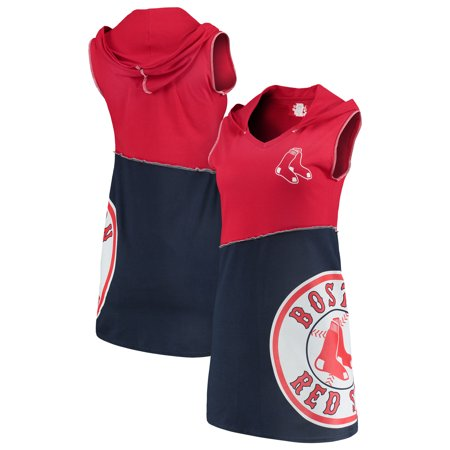 Boston Red Sox Refried Tees Women's Hooded V-Neck Sleeveless Mini Dress - Red/Navy Boston Celtics Jersey Dress