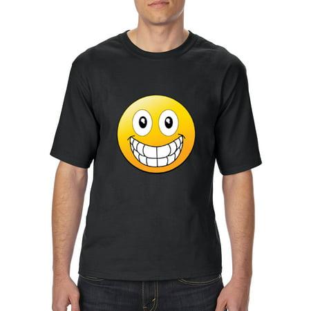 Emojis T-Shirt Big Smile Grinning Big Mouth  Mens Shirts Tall Sizes