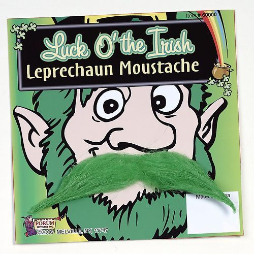 Leprechaun St Patrick's Day Green Moustache Mustache Funny Costume Accessory