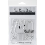 """Two Paper Divas Clear Stamps 7""""X4.5""""-Holiday Greetings"""