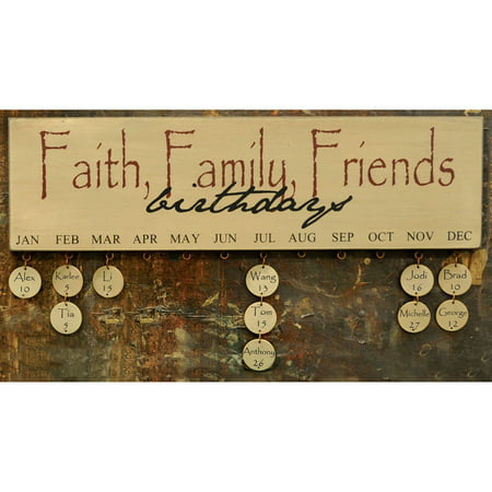 Faith Family Friends Wooden Birthday Board Sign Calendar](Wooden Birthday Sign)