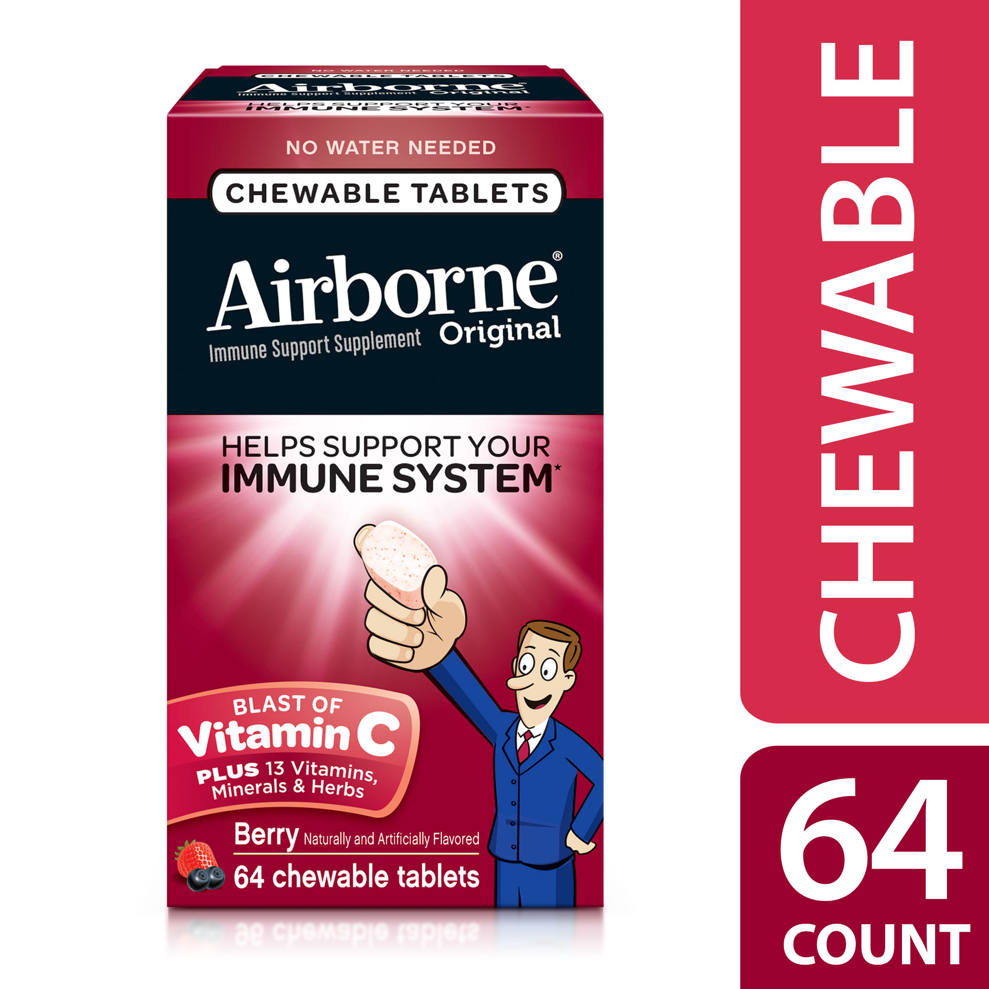Airborne Chewable Vitamin C Tablets, Very Berry, 1000mg - 64 Chewable Tablets
