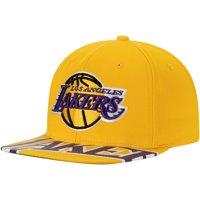 Los Angeles Lakers Mitchell & Ness Sliced Up High Crown Snapback Hat - Gold - OSFA