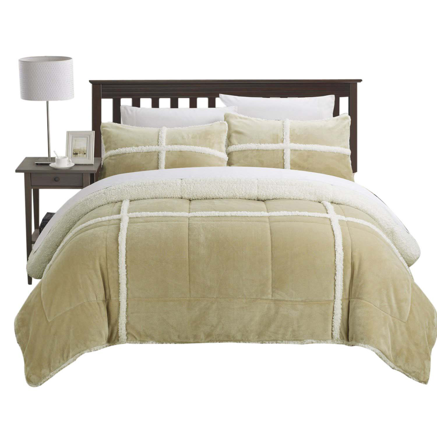 Chic Camille Mink Chloe Sherpa Lined 2 Piece Comforter Set Twin XL Camel