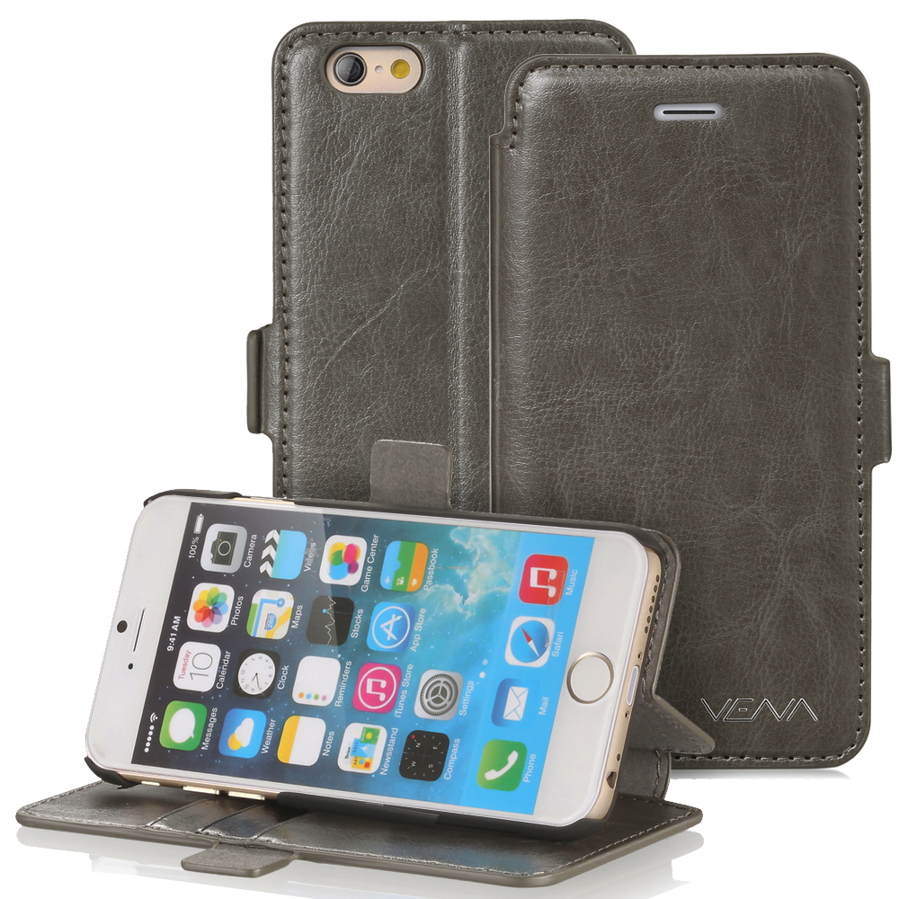 "iPhone 6 Plus Wallet Case - VENA [vFolio] Slim Fit Faux Leather Vintage Flip Stand Wallet Case with Card Slots for iPhone 6 Plus (5.5"") - Gray"