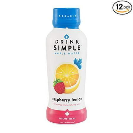 Drink Simple Raspberry Lemon Maple Water – Organic, Non-GMO, Gluten Free, Vegan Natural Hydration – Low Sugar Coconut Water Alternative – 12 Fluid Ounce (Pack of