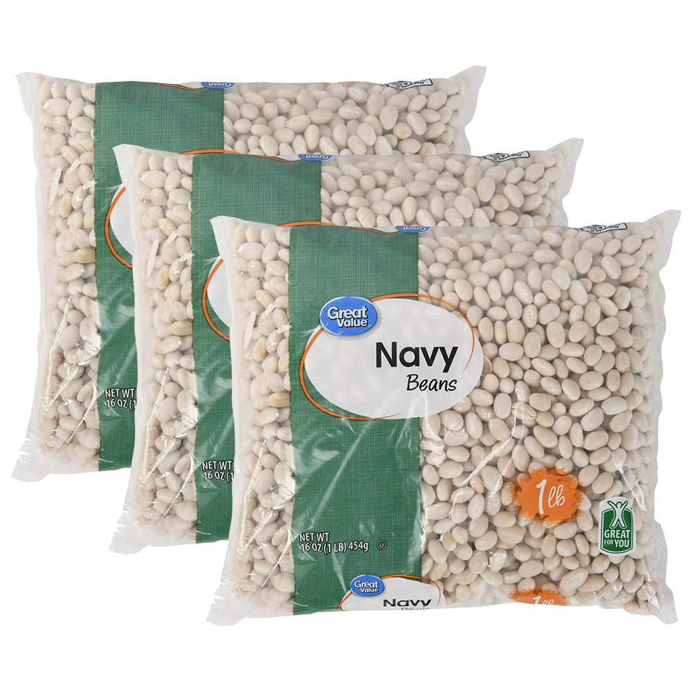 (3 Pack) Great Value Navy Beans, 16 oz
