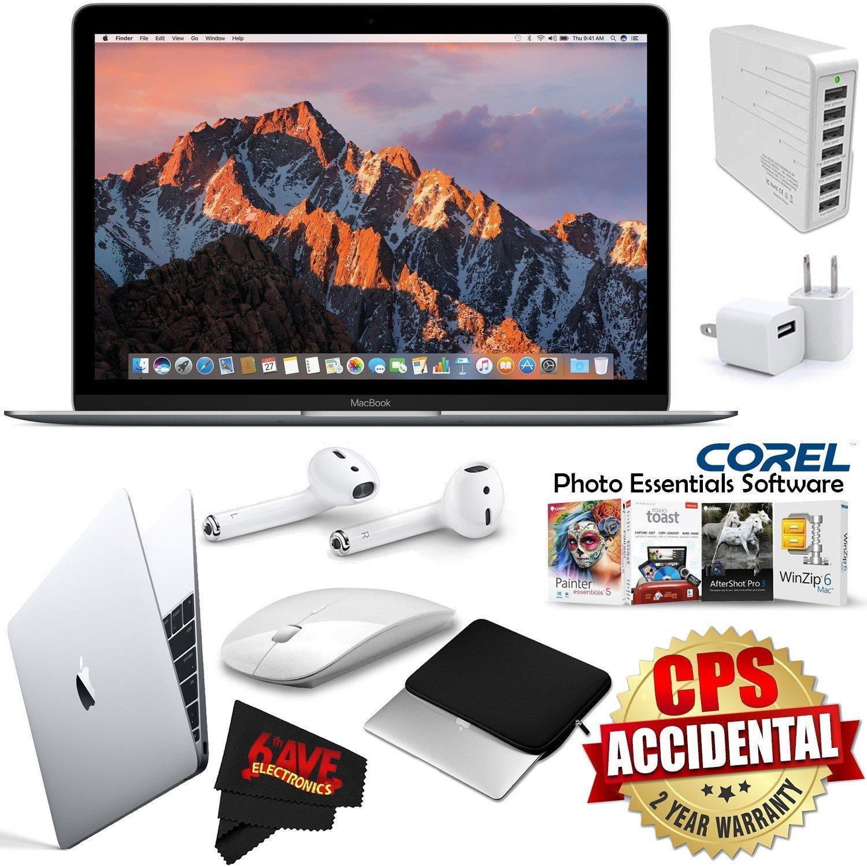 "Apple 12"" MacBook (Mid 2017 Gold) 256GB SSD + 2.4 GHz Slim Optical Wireless Bluetooth + 7 Port USB Hub (White) Bundle"
