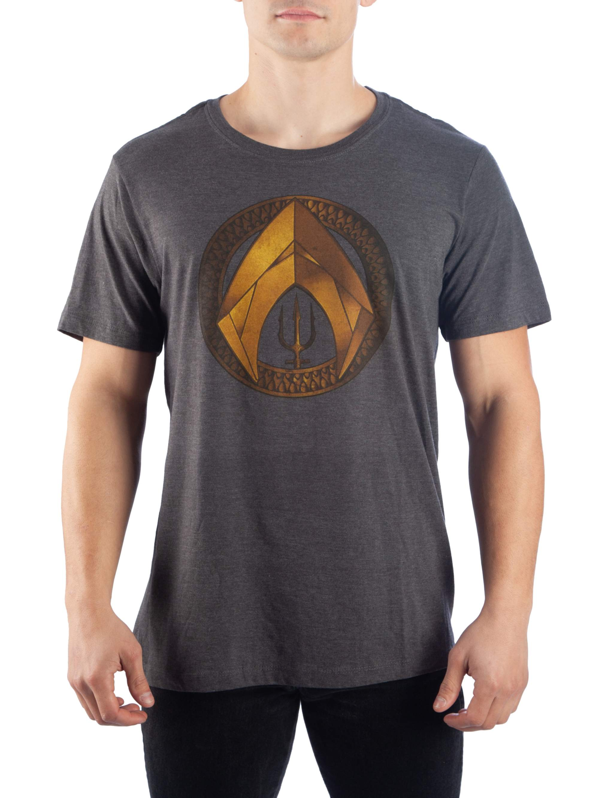Aquaman Men's Shield And Trident Short Sleeve Graphic T-Shirt, Up To Size 2XL
