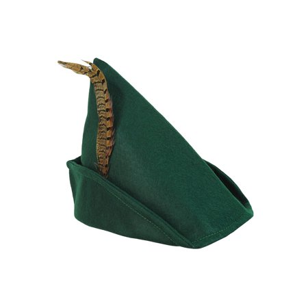 Robin Hood Peter Pan Adult Green Hat Feather Elf Cap Holiday Costume Accessory