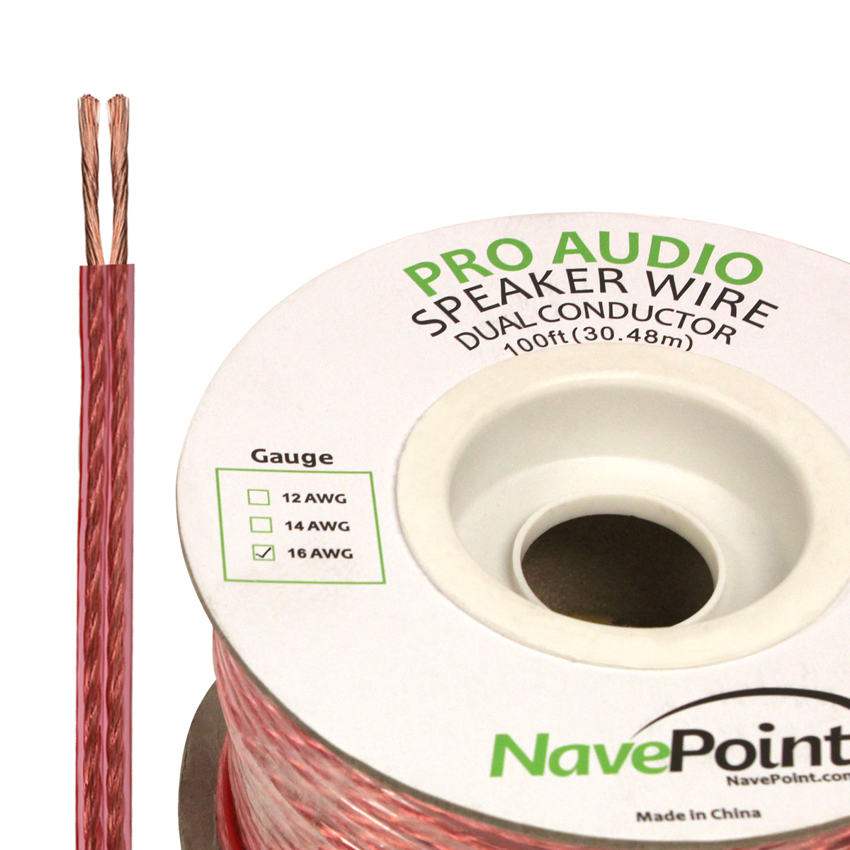 NavePoint 100ft In Wall Audio Speaker Cable Wire CL2 16/2 AWG Gauge 2 Conductor Bulk Clear