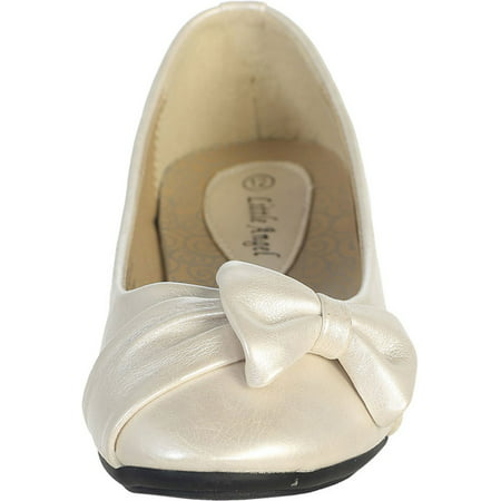 Dempsey Marie Ivory Pearl or White Infant & Girl's Flat Shoes with Side - Girls Ivory Flats