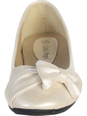 Dempsey Marie Ivory Pearl or White Infant & Girl's Flat Shoes with Side Bow