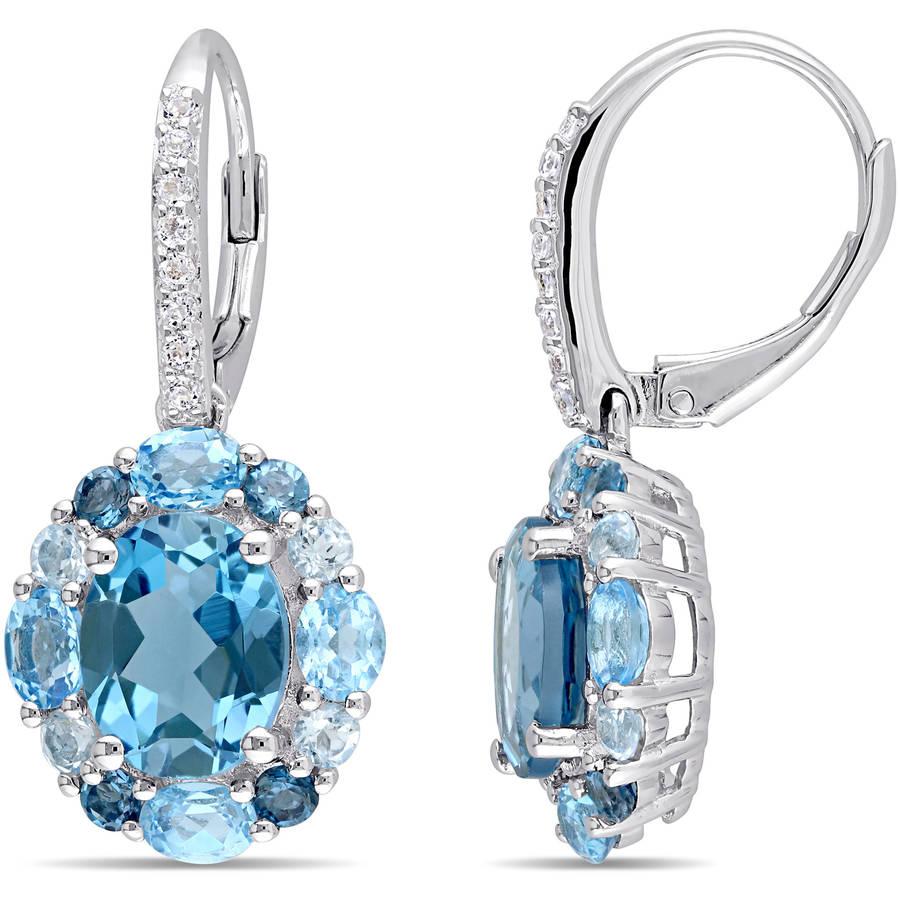 Tangelo 7-7 8 Carat T.G.W. Oval-Cut Blue Topaz and White Topaz Sterling Silver Halo Leverback Earrings by Tangelo