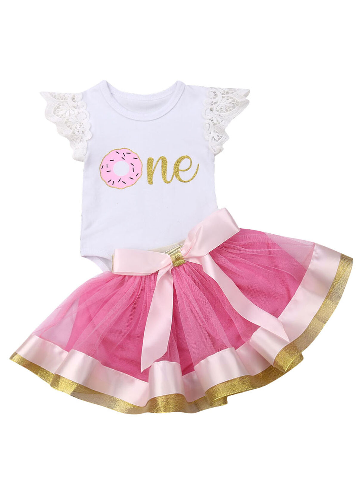 Newborn Baby Girls Pink Striped Tutu Dress First Birthday Skirt Outfits Casual Donut Print Girls Clothes Headband 2Pcs Set
