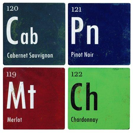 Coasters Set Of 4 Pieces Wine Periodic Table Merlot Chardonnay
