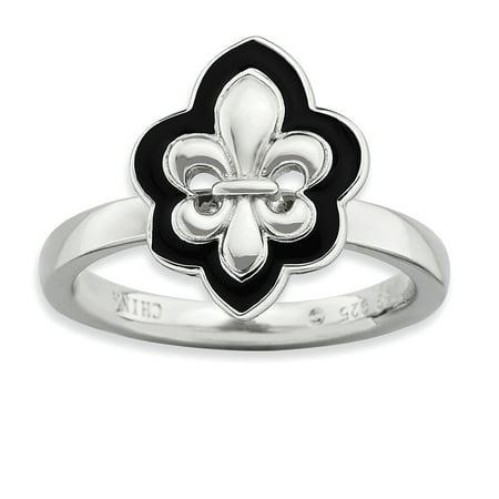 Sterling Silver Stackable Expressions Polished Enameled Fleur De Lis Ring Size 9 - image 1 of 3