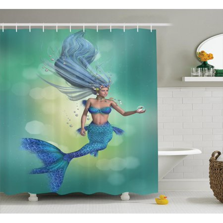 Mermaid Decor Shower Curtain Set, Mermaid Upper Body Of A Woman And The Tail Of A Fish For Swimming, Bathroom Accessories, 69W X 70L Inches, By Ambesonne