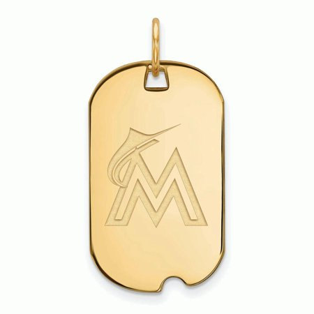Marlin Tag - Miami Marlins Women's Gold-Plated Small Dog Tag Necklace - No Size