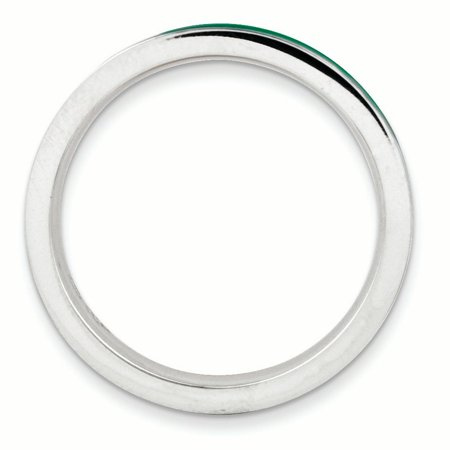 Sterling Silver Stackable Expressions Green Enameled 3.25mm Ring Size 7 - image 1 of 3