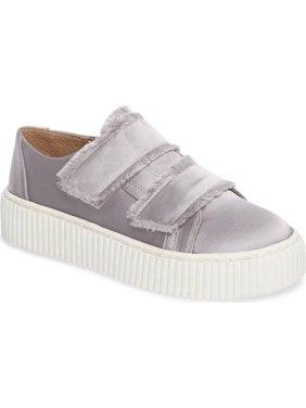 Shellys London Elder Grey Fabric Fringed Platform Double Strap Sneaker