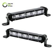 "2pc 7"" Ultra-Slim Single Row Off Road CREE LED Light Bar [1530lm] [18W] [IP68 Waterproof] [12V - 24V] Fog / Driving / Work Lights for Trucks ATV Cars - 60 Degrees Flood Light"
