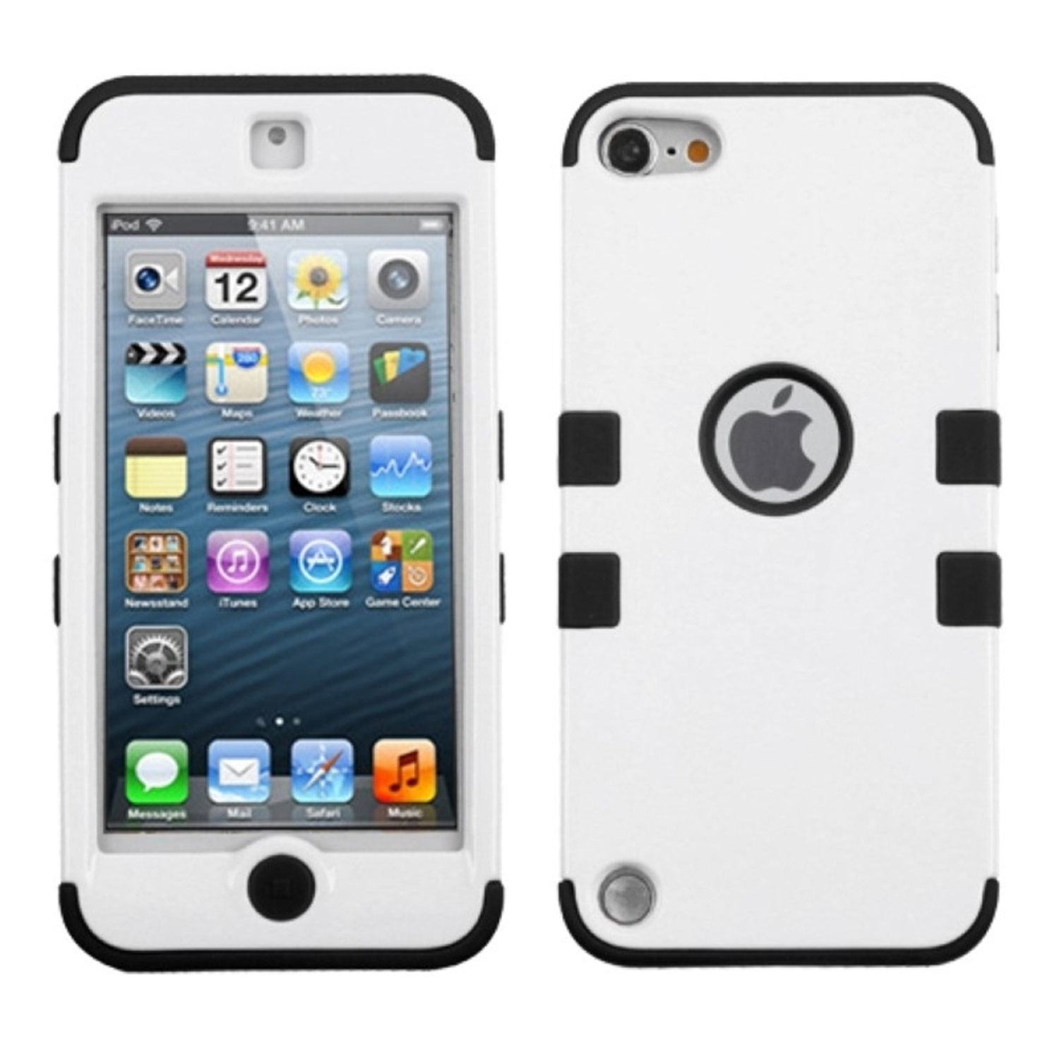 Insten Ivory White/Black Stylish TUFF Hybrid Phone Hard Case Cover For APPLE iPod touch 6th 6G 6 5th 5G 5