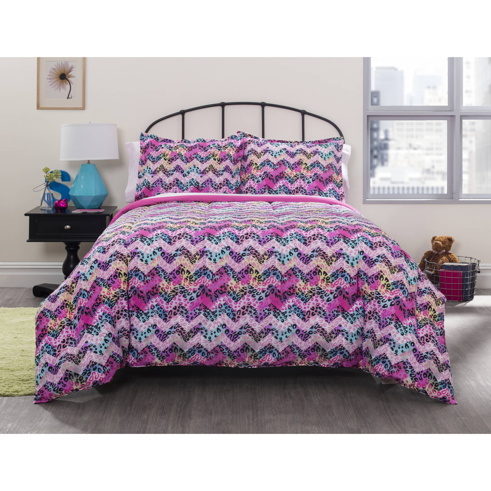 your zone cheetah chevron bed-in-a-bag bedding set