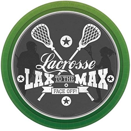 Amscan Lacrosse 7 inch Plates, 8 Count](Blue And Green Paper Plates)