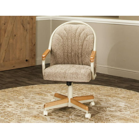 Caster Chair Company Britney Swivel Tilt Caster Arm Chair in Wheat Tweed - Tilt Chair Polyester Fabric