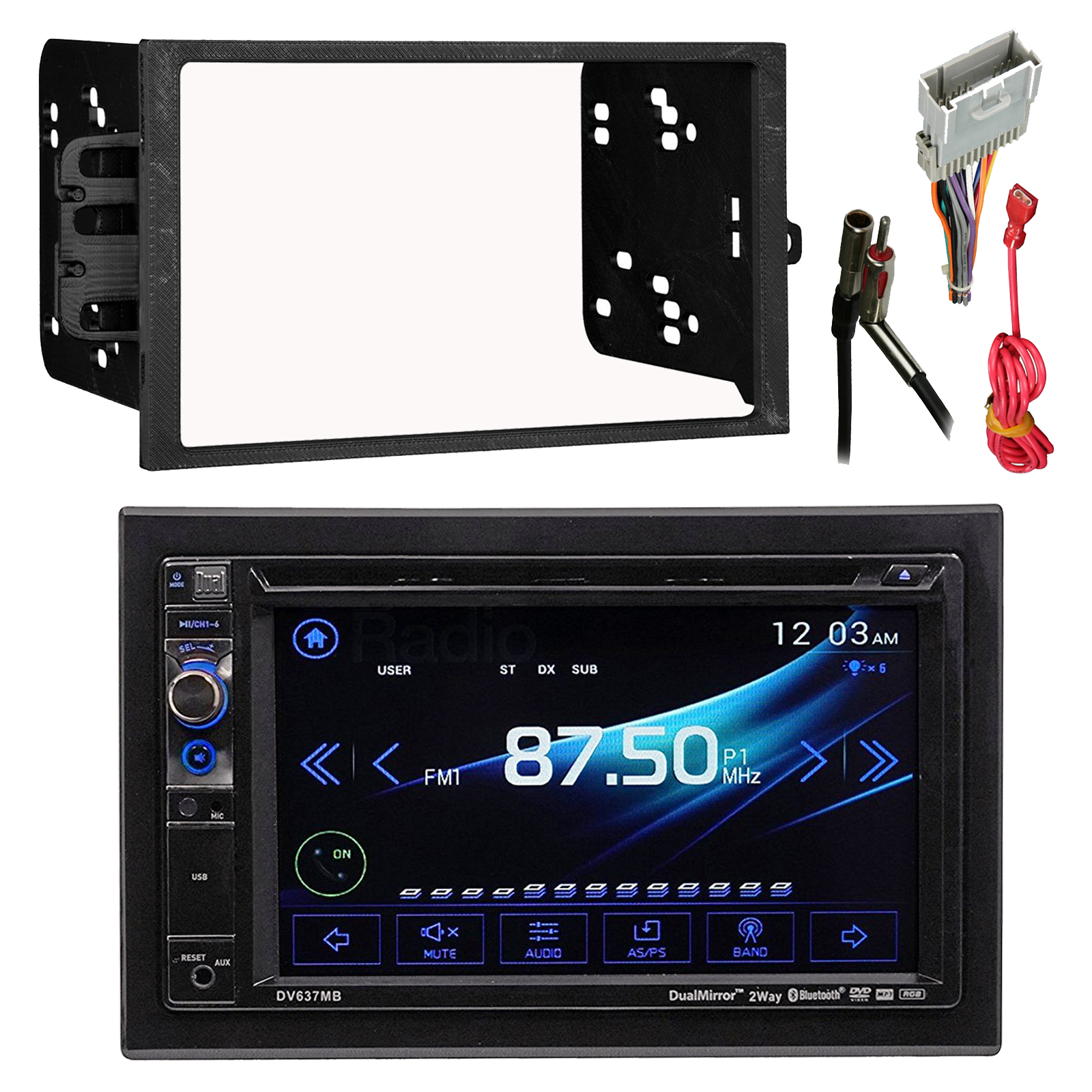 dual av dv637mb double din 6 2 touch screen dvd bluetooth usb rh walmart com JL Audio Wiring Diagram Stereo Wiring Harness Color Codes