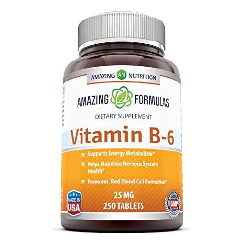Amazing Formulas Vitamin B6 25 Mg 250 Tablets Walmart Com Walmart Com