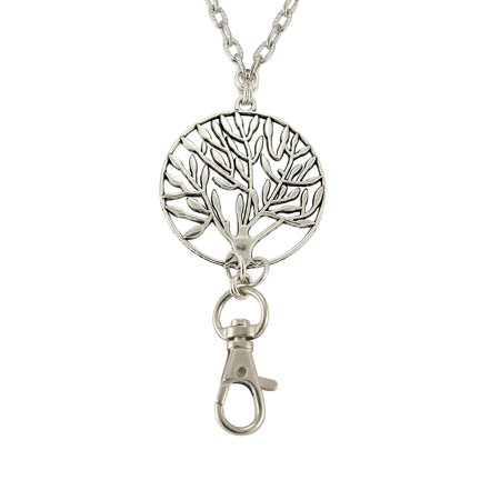 Women's Fashion Necklace Lanyard with Silver Tree of Life and Magnetic, Breakaway Clasp - ID Badge Holder or Key Chain