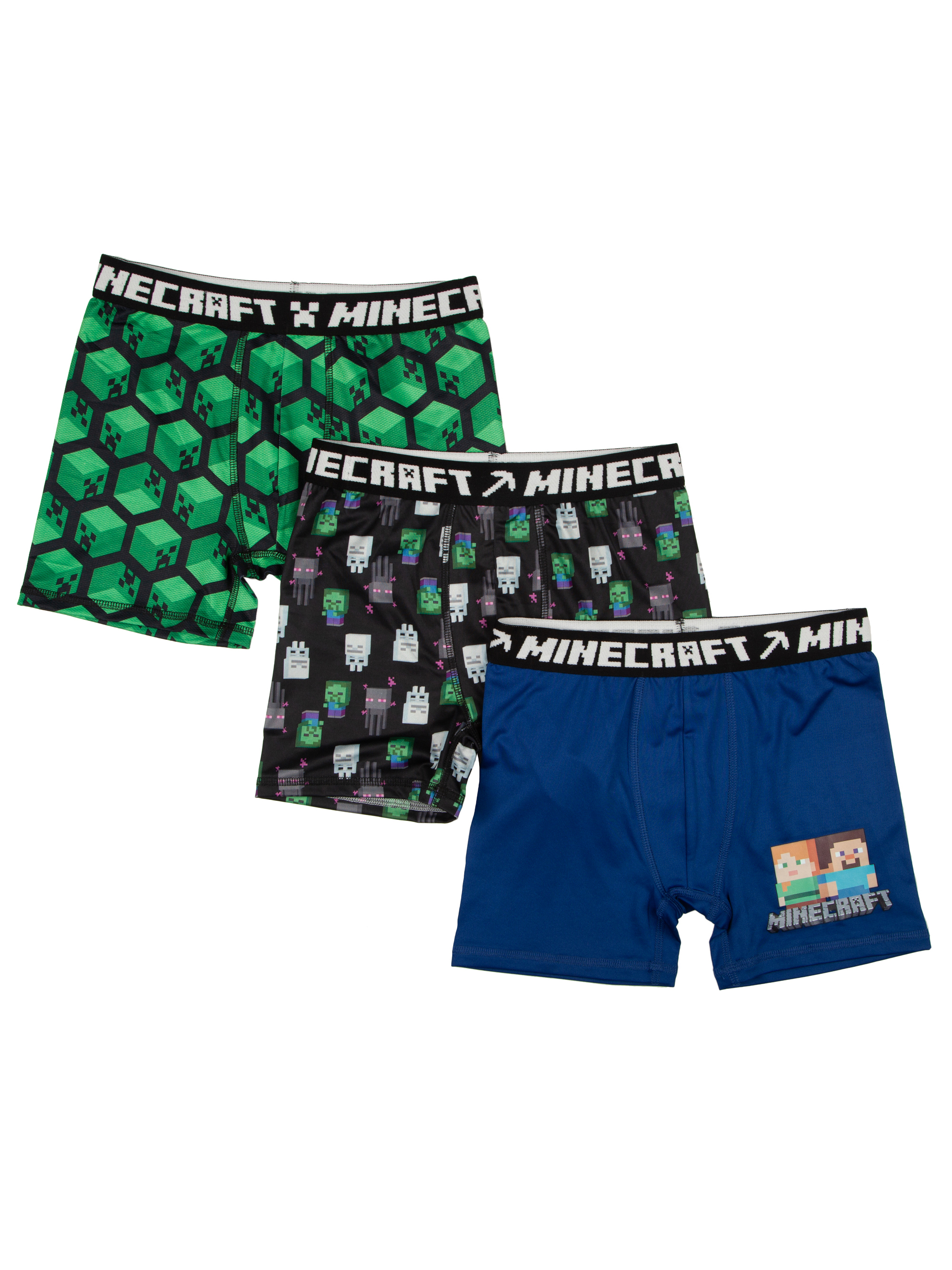 Minecraft Poly Boxer Briefs, 3 Pack (Big Boys)
