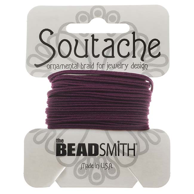 BeadSmith Soutache Braided Cord 3mm Wide - Ruby Glint  (3 Yards)