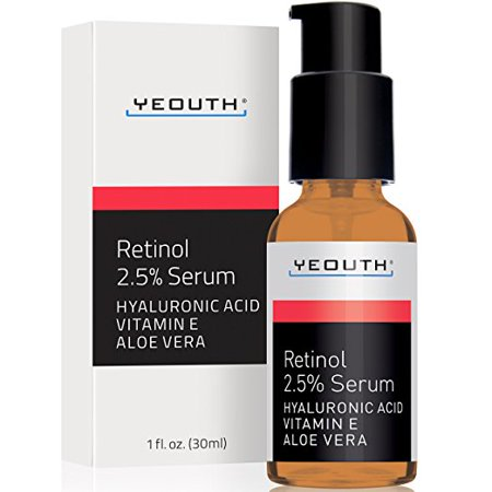 YEOUTH Retinol Serum 2.5% with Hyaluronic Acid, Aloe Vera, Vitamin E - Boost Collagen Production, Reduce Wrinkles, Fine Lines, Even Skin Tone, Age Spots, Sun Spots - 1 Fl Oz