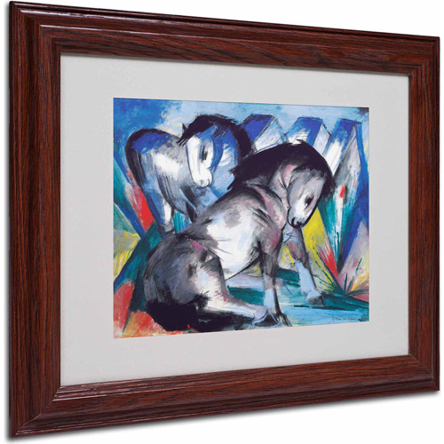 "Trademark Fine Art ""Two Horses 1913"" Canvas Art by Franz Marc, Wood Frame"