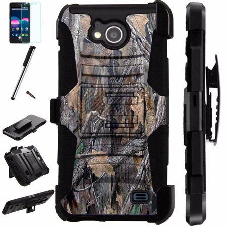 (For ZTE Majesty Pro Plus LTE / ZTE Majesty Pro LTE / ZTE Tempo N9131 Case Armor Hybrid Silicone Cover Stand LuxGuard Holster Combo Pack (Camo Tree))