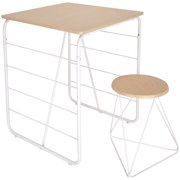 Mainstays Kids Geo Metal Frame Writing Desk with Stool, Classic White