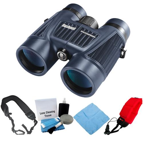 Bushnell H2O 8x42mm Waterproof Binocular (Black) + Focus Foam Float Strap (Red) + Accessory Kit by Bushnell