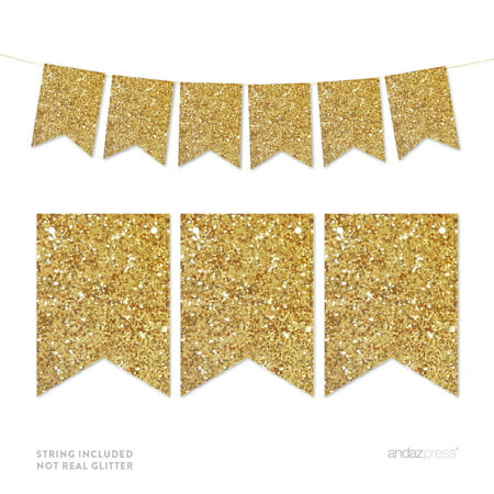 Gold Glitter Pennant Party Banner - Gold Glitter Party Decorations