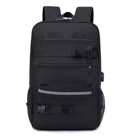 - Anti-theft Skateboard Backpack Laptop Backpack College Backpack Travel School Bag with Lock and USB Port
