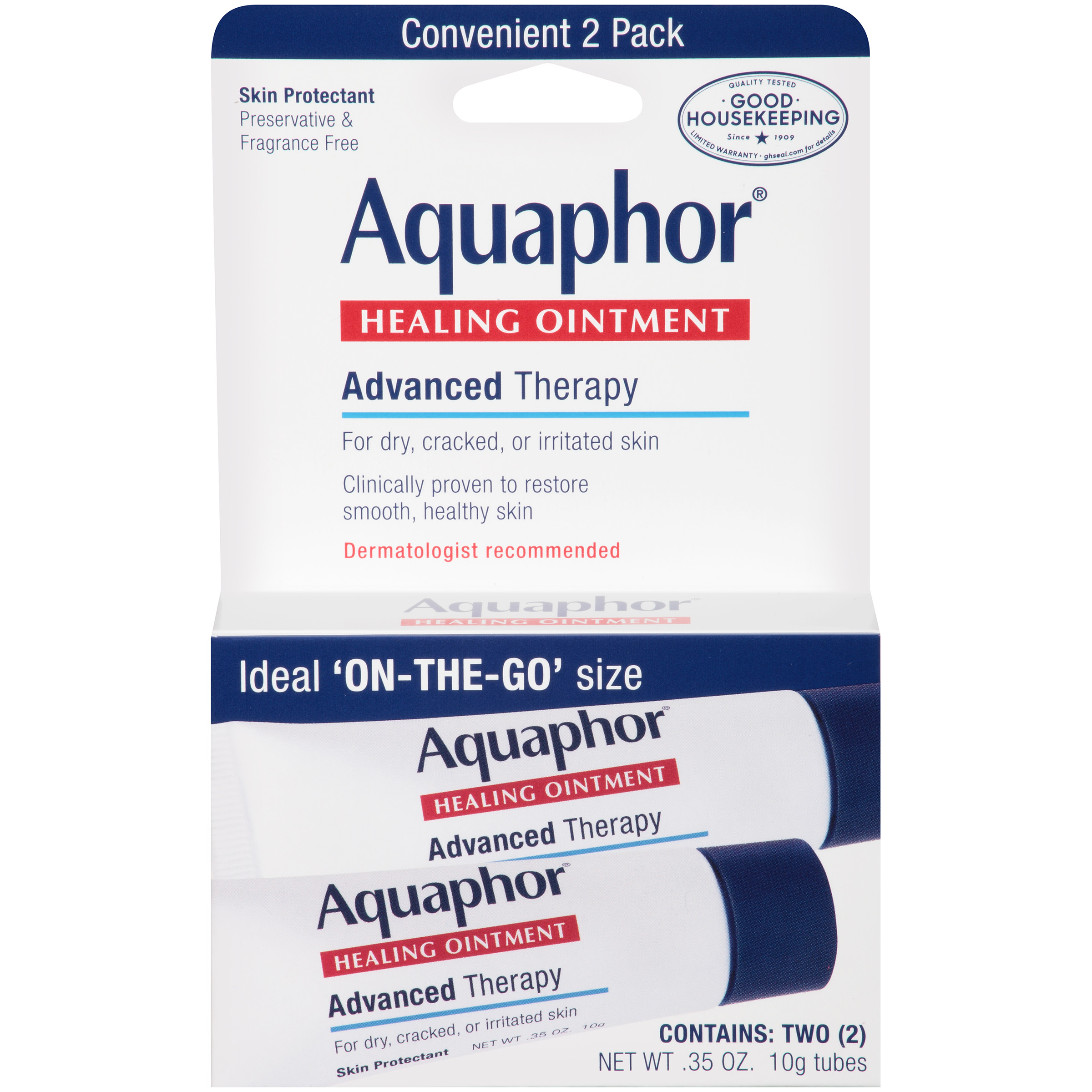Aquaphor Advanced Therapy Healing Ointment Skin Protectant 2-.35 oz. Tubes