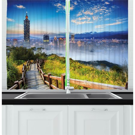 Scenery Curtains 2 Panels Set, Beautiful Scenery of a Cityscape Cosmopolitan Life and Nature with Bridge Print, Window Drapes for Living Room Bedroom, 55W X 39L Inches, Multicolor, by Ambesonne
