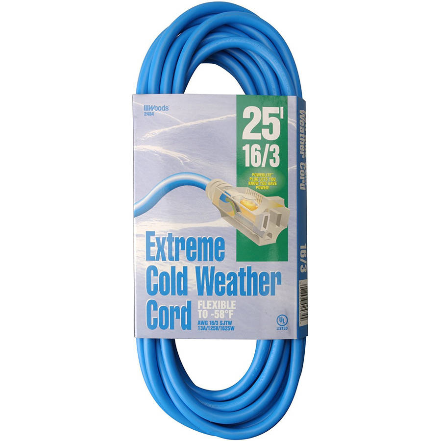 Woods 2434 16/3 Outdoor Cold-Flexible SJTW Extension Cord, Blue with Lighted End, 25'