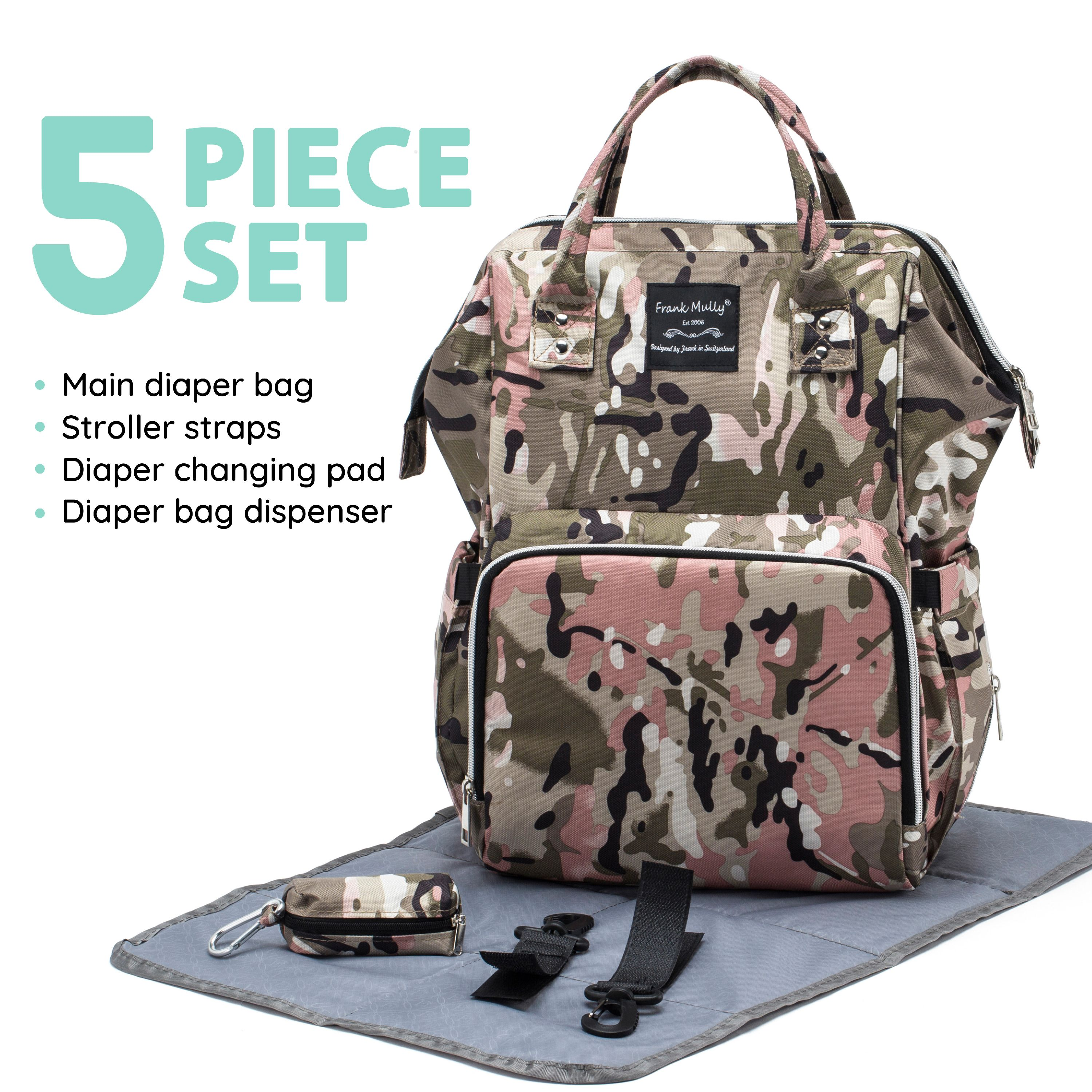 SoHo Collections, Unisex Insulated Large Tote Diaper Bag Backpack with Stroller Straps and Changing Pad, 5 Piece Set, Metropolitan (Pink Camo)