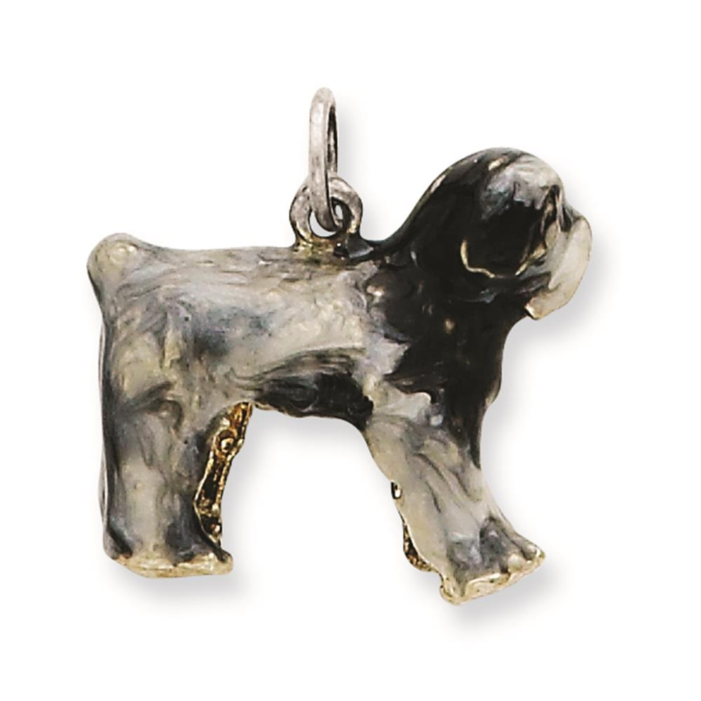 925 Sterling Silver 3-D Enameled Old English Sheepdog Solid Charm Pendant